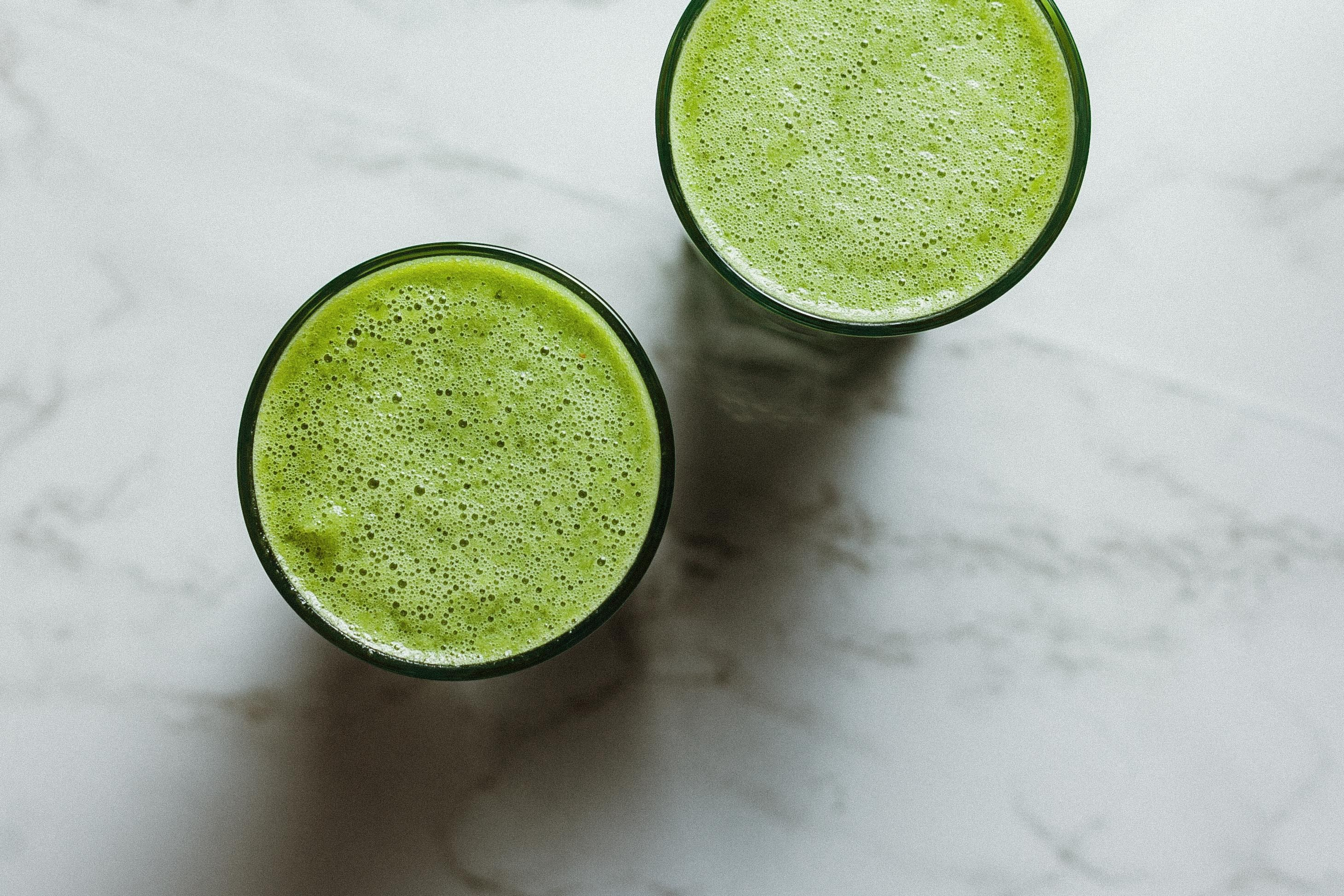 Two green detox smoothies