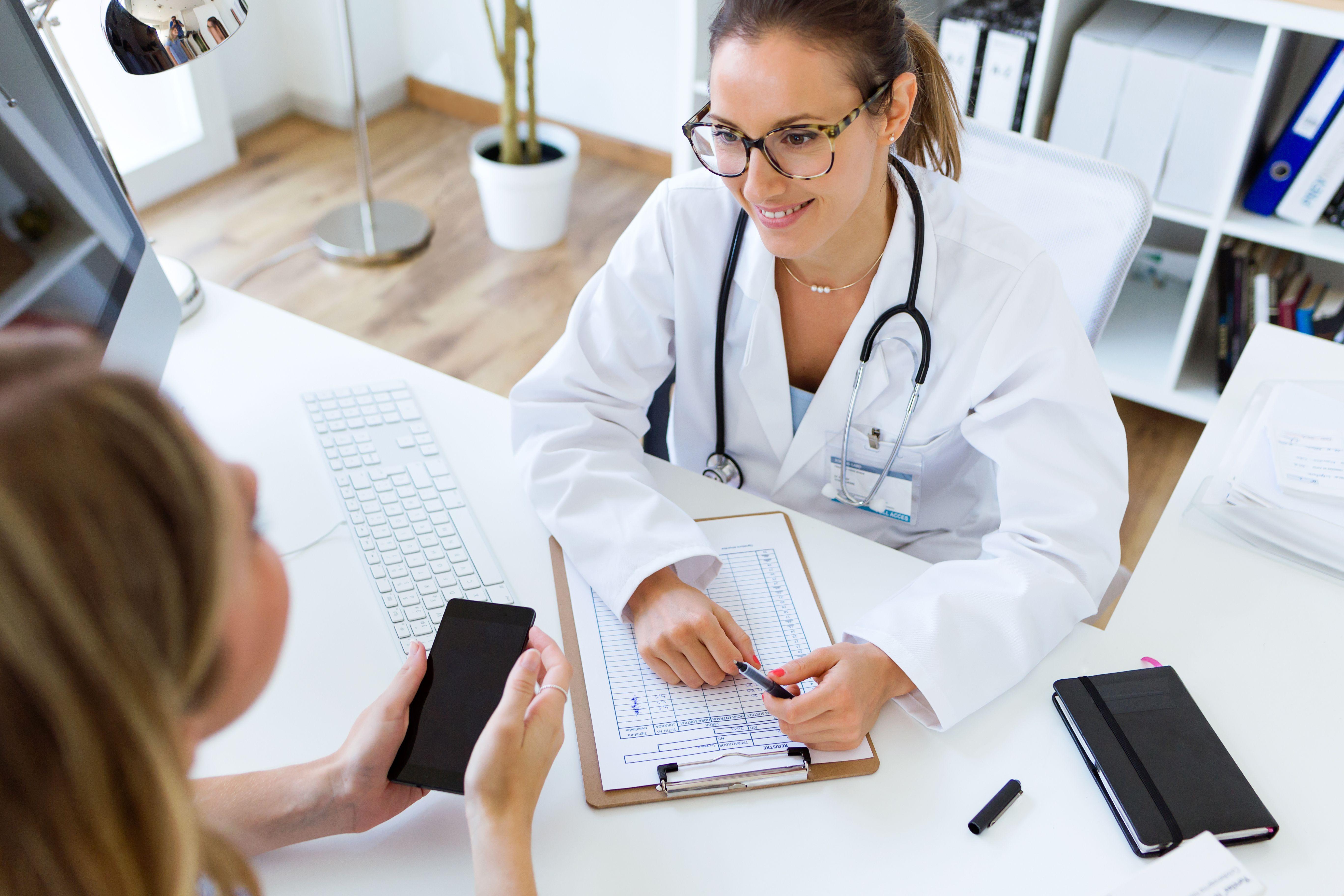 Patient speaking to doctor