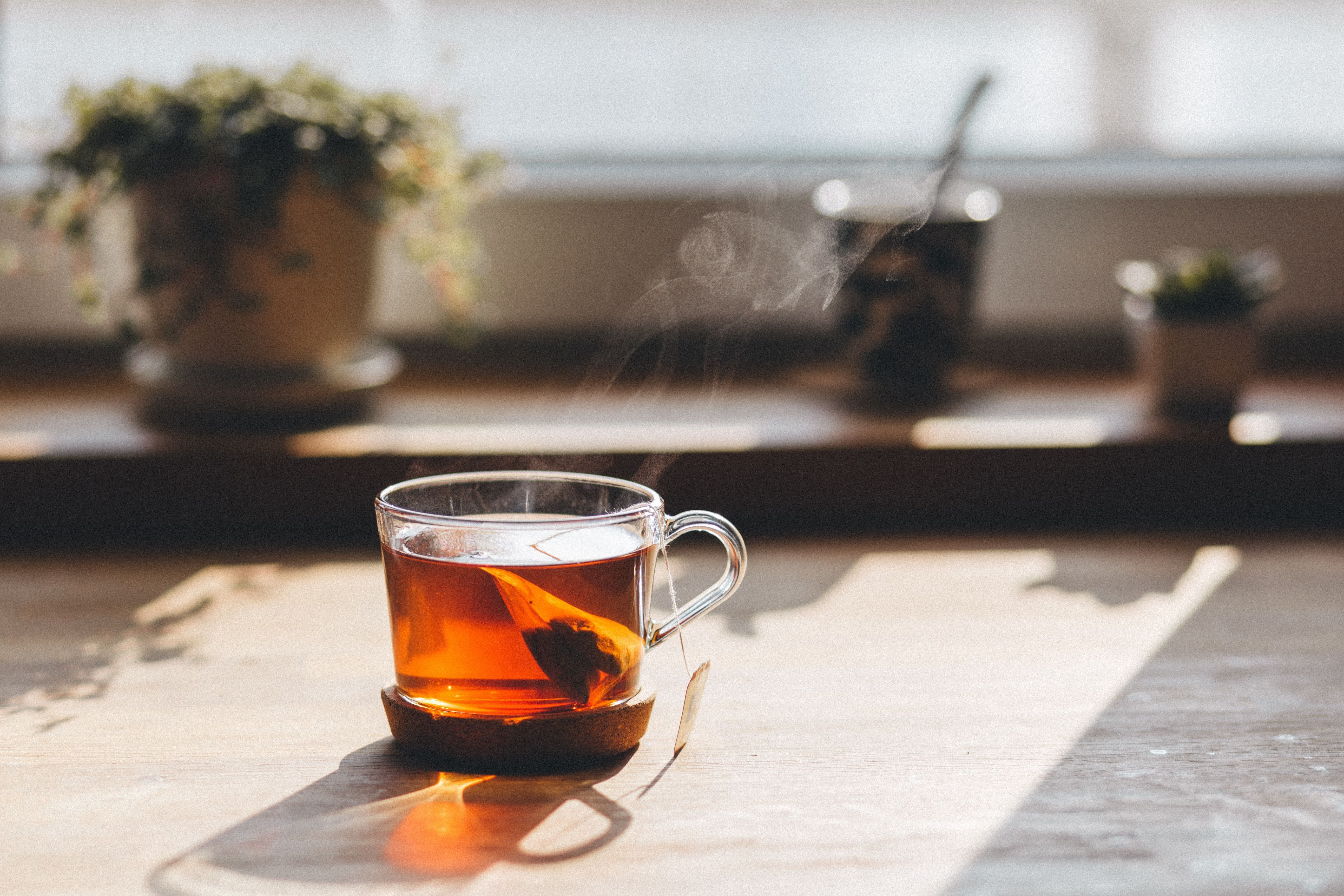 A steaming glass of herbal tea in front of window